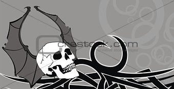 skull winged rocker style background3