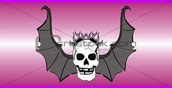 skull winged rocker style background2