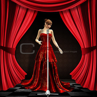 Woman in red on stage