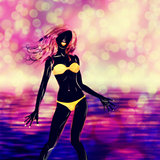 Yellow bikini girl silhouette