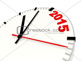 Clock with 2015 New Year sign