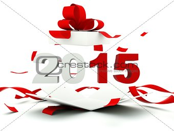 2015 New Year sign inside the present
