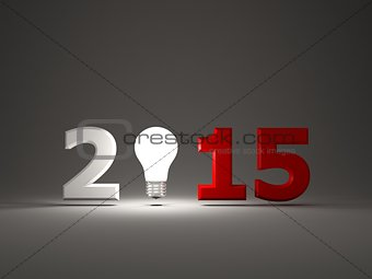 2015 New Year sign with light bulb
