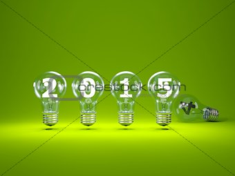 2015 New Year sign inside light bulbs
