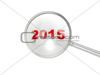 2015 New Year sign under magnifier