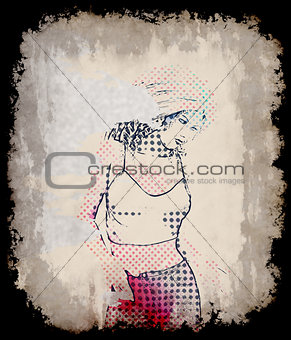 Beautiful halftone girl