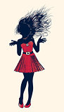 Halftone female silhouette in red