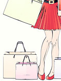 Halftone shopping woman legs