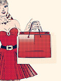 Halftone shopping woman