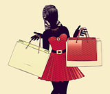 Shopping girl halftone silhouette