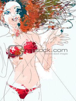 Watercolor bikini girl