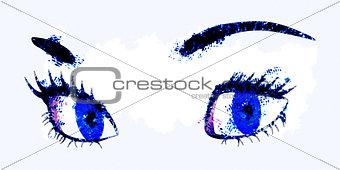 Watercolor female eyes