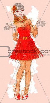 Watercolor girl in red