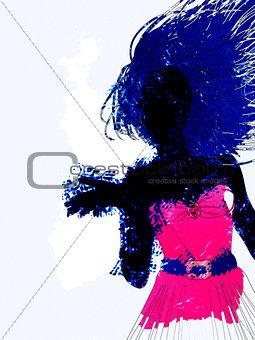 Watercolor girl silhouette