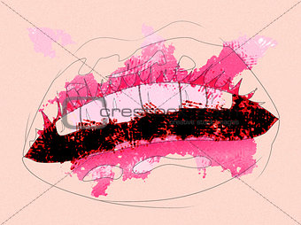 Watercolor lips