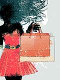 Watercolor shopping girl silhouette