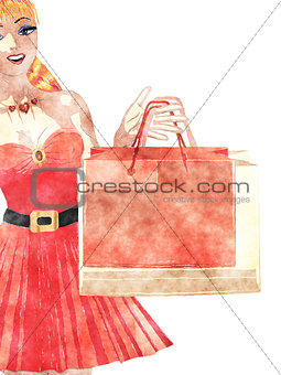Watercolor shopping girl