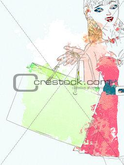 Watercolor shopping girl