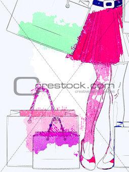 Watercolor shopping woman legs