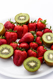 Strawberries and halved kiwifruits