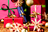 Red Present among other Gifts and Baubles