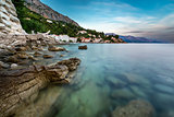 Rocky Beach and Small Village near Omis at Dusk, Croatia