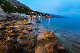 Rocky Beach and Small Village near Omis in the Evening, Dalmatia