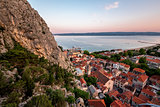 Aerial View on Omis Old Town and Holy Spirit Church, Dalmatia, C
