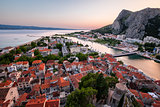 Aerial View on Omis Old Town and Cetina River, Dalmatia, Croatia