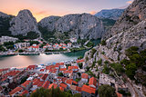 Aerial View on Omis Old Town and Cetina River Gorge, Dalmatia, C