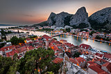 Aerial View on Omis and Cetina River Gorge in the Evening, Dalma