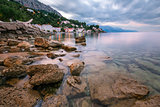 Rocky Beach and Small Village near Omis in the Morning, Dalmatia
