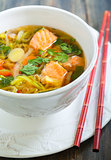 Miso soup with salmon.