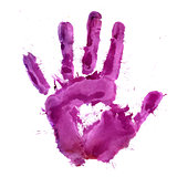 Paint print of human hand