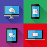 Flat icons PC, laptop, cell phone and tablet