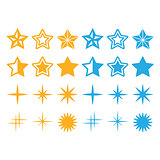 Stars yellow and blue stars icons set
