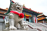 Chinese Lion Stone Sculpture in the Chinese Temple in Nonthaburi