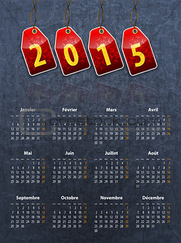 French stylish calendar for 2015 on stone texture with red tags