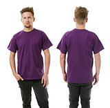 Man posing with blank purple shirt