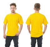 Man posing with blank yellow shirt