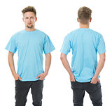 Man posing with blank light blue shirt