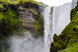 Detail of Skogafoss waterfall near Skogar, Iceland
