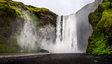 Landscape view of wild Skogafoss waterfall in Iceland