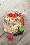 Healty breakfast with muesli and berries