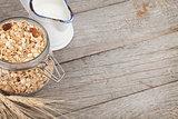 Healty breakfast with muesli and milk