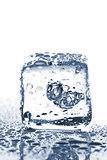 Melting ice cube with water dew