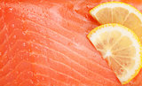 Fresh salmon fish with lemon slices
