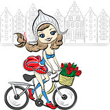 Vector cute girl on the bike in Amsterdam