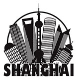 Shanghai City Skyline Black and White Circle Outline Illustratio
