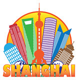 Shanghai City Skyline Color Circle Outline Illustration